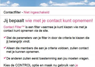 De contactfilter om mensen toe te laten of te blokkeren